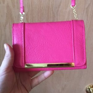 Handbags - Hot Pink and Gold Cross Body/Over Shoulder Purse
